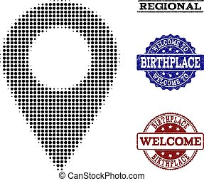 Welcome Collage of Halftone Local Map Marker and Textured Stamps