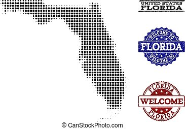 Welcome Collage of Halftone Map of Florida State and Textured Seals