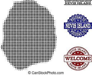 Welcome Collage of Halftone Map of Nevis Island and Textured Stamps