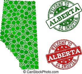 Welcome Collage of Map of Alberta Province and Grunge Stamps