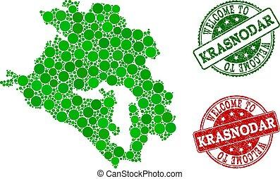 Welcome Collage of Map of Krasnodar Krai and Grunge Seals - ...