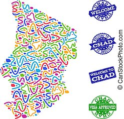 Welcome Collage of Mosaic Map of Chad and Scratched Stamps