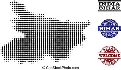 Welcome Composition of Halftone Map of Bihar State and Scratched Stamps