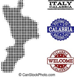 Welcome Composition of Halftone Map of Calabria Region and...