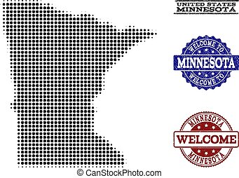 Welcome Composition of Halftone Map of Minnesota State and Textured Stamps