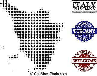 Welcome Composition of Halftone Map of Tuscany Region and...