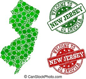 Welcome Composition of Map of New Jersey State and Textured Seals