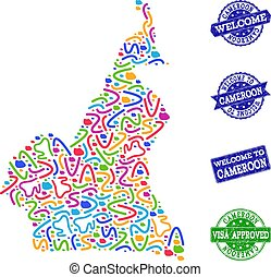 Welcome Composition of Mosaic Map of Cameroon and Textured Stamps