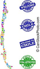 Welcome Composition of Mosaic Map of Chile and Distress...