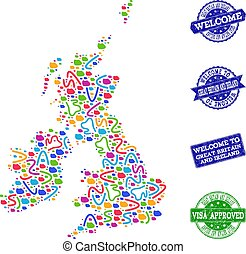 Welcome Composition of Mosaic Map of Great Britain and Ireland and Textured Stamps