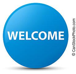 Welcome cyan blue round button