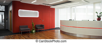 Welcome desk in the office - Welcome desk and lobby in the...