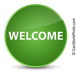 Welcome elegant soft green round button