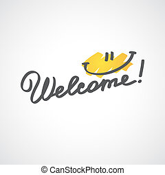 welcome, handwriting phrase, vector illustration