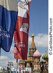 Welcome flags on Moscow streets in honour of the 2018 FIFA World Cup in Russia