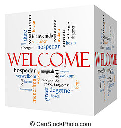 Welcome Foreign Language 3D cube Word Cloud - Welcome 3D...