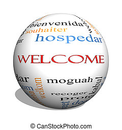 Welcome Foreign Language 3D sphere Word Cloud - Welcome 3D...