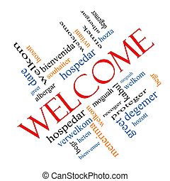Welcome Foreign Language Word Cloud Angled - Welcome Word...