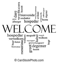 Welcome Foreign Language Word Cloud in black and white -...