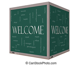 Welcome Foreign Language Word Cloud on 3D cube Blackboard -...