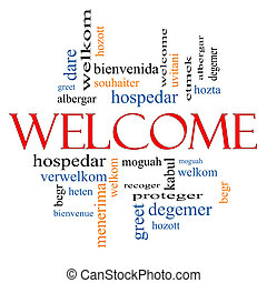 Welcome Word Cloud Concept with Welcome greetings in different languages such as hozta, welkom, begr, bienvenida and more.