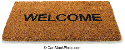 Welcome front door mat isolated on a white background - a...