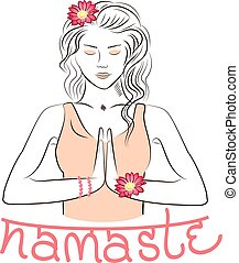 Welcome gesture of hands of Indian woman character in Namaste mudra