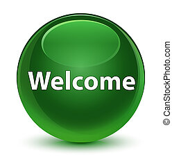 Welcome glassy soft green round button