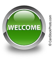 Welcome glossy soft green round button