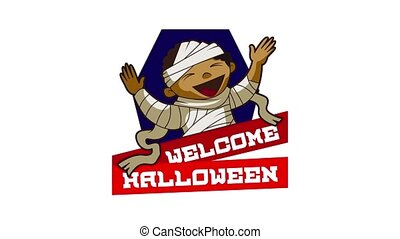 Welcome halloween logo animation best object on white background