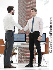welcome handshake Manager and client - business concept....
