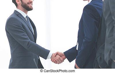 welcome handshake of business partners