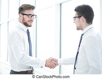 welcome handshake of the staff in the office