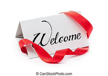 Welcome, handwritten label, isolated in white