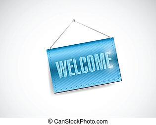 welcome hanging banner illustration design