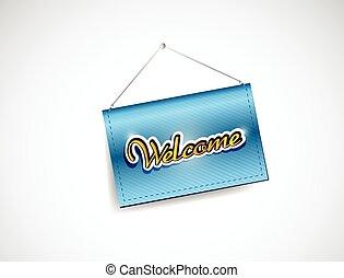 welcome hanging banner illustration