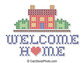 Retro cross stitch needlework design, Welcome Home with a big red heart, needlework house in landscape graphic, isolated on white background. EPS8 compatible.