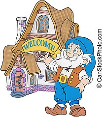 Welcome home illustration - Gnome invites to shi fairytale...
