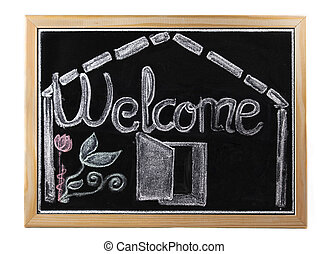 welcome in blackboard over white isolated background