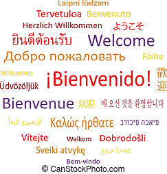 "Tag cloud: ""Welcome"" in different languages. Vector illustration."