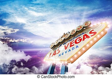 Welcome in Las Vegas - Illuminated Vegas Sign on Colorful...
