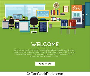 Welcome in Office Concept. Website Template.