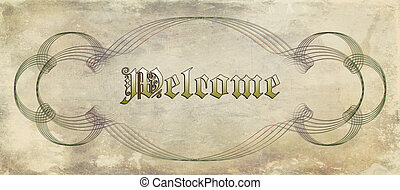 welcome label on vintage and grunge background