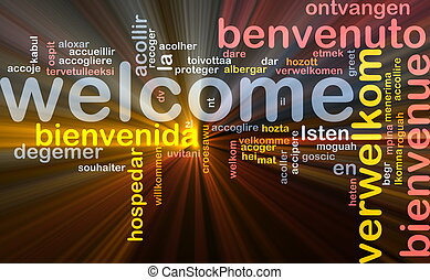 Welcome languages background concept glowing - Background ...