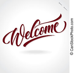 'welcome', mão, lettering, (vector)