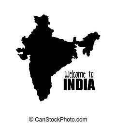 welcome map india country design