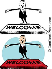 Welcome Mat - A man stands in front of a welcome mat with...