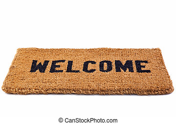 Welcome mat cut out - Photo of a welcome door mat isolated...