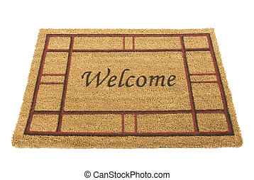 Welcome Mat - Horizontal shot of a welcome mat on a white...