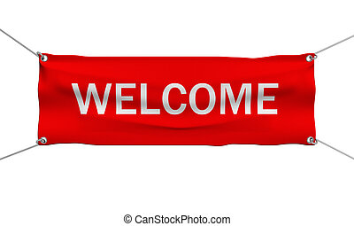 Welcome message banner 3d illustration